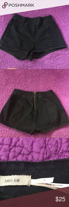 Urban Outfitters Kimchi Blue Fitted Shorts Adorable fitted shorts from Urban Outfitters! Dark denim with the cutest detailing of a gold zipped up the back! Excellent condition! Urban Outfitters Shorts
