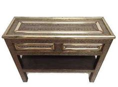 Moroccan Console Table Silver Carved U0026 Etched Metal Arabesque Furniture