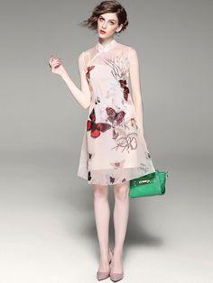 2 Piece Floral Qipao / Cheongsam Dress in Organza