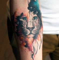 Greeneyed Animal Watercolor Tattoo On Forearms For Men