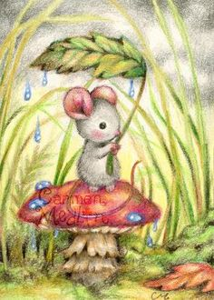 Forest Rain - cute mouse art by Carmen Medlin