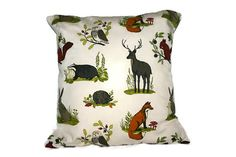 Wildlife cushion cover stag pillow British by sunnyjollyhq on Etsy