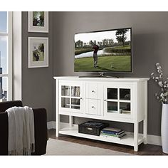 "WE Furniture Wood Console Table TV Stand, 52"", White WE Furniture http://www.amazon.com/dp/B010EA5ZWI/ref=cm_sw_r_pi_dp_xPQjwb0SXCCKG"