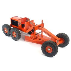 Vintage Ny-Lint Toys Orange Road Grader great looking toy road grader, this is in great condition for it's age, has light play wear, scratches, Vintage Trains, Vintage Toys, Velasco, Matchbox Cars, Kids Board, Tin Toys, Antique Toys, Toy Boxes, Heavy Equipment