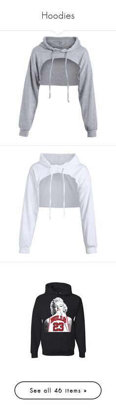 """Hoodies"" by duhhqueen ❤ liked on Polyvore featuring tops, hoodies, shirts, blusa, gray cropped hoodie, gray shirt, grey cropped hoodie, crop top, grey hooded sweatshirt and cropped white shirt"