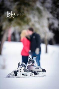 Hockey Skates [Winter Engagement Photography by Kristen Borelli]