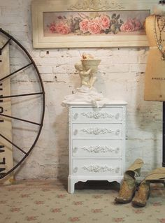 Painted Cottage Chic Shabby White Romantic by paintedcottages, $190.00