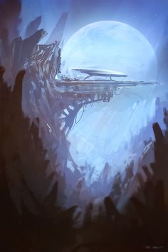 A quick random speedpaint before bed. I've Tried to achieve some classic 50s sci-fi mood. Spaceship landing pad in the land of spiky rocks never gets old and it's very relaxing to paint. Goodnight.