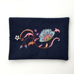 Gorgeous Vintage Style, Silk Jacobean Embroidered Jean Fabric Ipad Case by GFMODE on Etsy