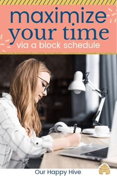Block scheduling will help you find extra time in your day every week! Check out this post to help your family's schedule get organized, identify more time each day, and improve productivity. - Education and lifestyle Mom Advice, Parenting Advice, Daily Routine Schedule, Daily Routines, Saving Tips, Time Saving, Schedule Printable, Free Printable, Block Scheduling