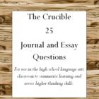 essay question on the crucible