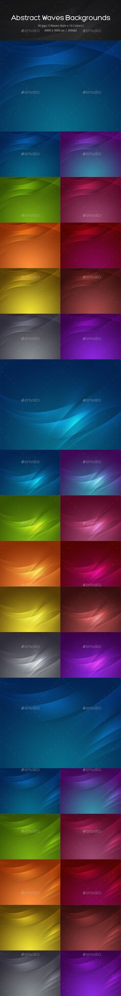 30 Abstract Waves Backgrounds by ghssalem This pack includes 30 Abstract Waves Backgrounds (3 Waves style x 10 colors). 4000脳3000 px (300 dpi)