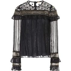 Dodo Bar Or Embroidered Tulle and Chiffon Top