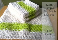 Super Simple Slip Stitch Dishcloth #Free #Knitting #Pattern