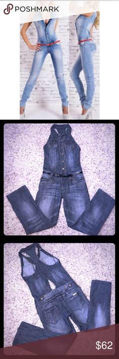 ❤️ SEXY DENIM OVERALLS Super SEXY⚡️ and stylish!!!Great condition Monica's denim overalls size-S Monica's Jeans Overalls