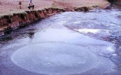 Rare phenomenon of perfect circle of spinning ice spotted in River Otter in Devon