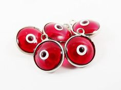 5 Translucent Red Evil Eye Nazar Artisan Glass Bead Charms - Silver Plated Brass Bezel
