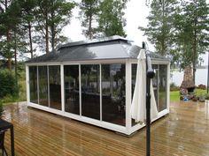 Lucia-Lasipaviljonki #outdoor-glass-pavilion #style #finnishdesign #easy #terrace www.lasipaviljonki.fi #byfinland #madeinfinland Glass Pavilion, Glass House, Terrace, Gazebo, Garden Design, Outdoor Structures, Easy, Style, House Of Glass