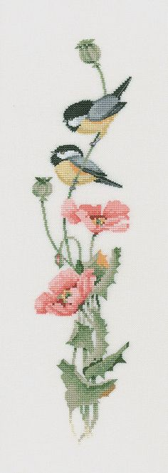 poppies and birds a Valerie Peiffer kit from hertitage crafts