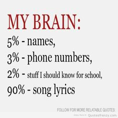My brain: 5% names, 3% phone numbers, 2% stuff I should know for school, 90% song lyrics.