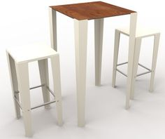 guyon mobilier urbain table mange debout metal BRUNCH 4 pieds ral 9010 et stratifie