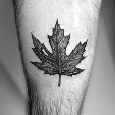 Leg Calf Guys With Leaves Tattoos In Black Ink