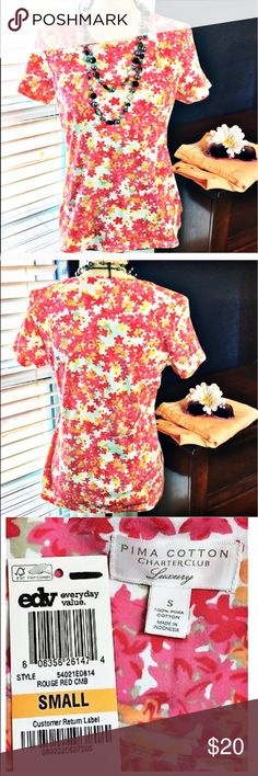 """Charter Club Luxury Floral 100% Pima Cotton Blouse Pretty pink and coral floral, stretchy, short sleeve top. Would look great with capris!  New with tags. Bust: 36""""; Length in the back from the shoulder: 24"""".  Measurements are approximate. Smoke free home. Thank you for shopping my closet 😊🌺 Charter Club Tops"""
