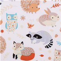 white forest animal Clothworks organic fabric Critter Patch - Animal Fabric - Fabric