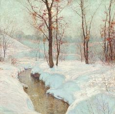 WALTER LAUNT PALMER, American (1854-1932), Winter Stream, oil on canvas, signed lower left., 28 x 28