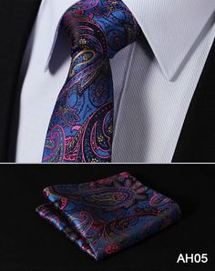 "TF2013D7 Gold Navy Blue Paisley 2.75"" 100%Silk Woven Slim Skinny Narrow Men Tie Necktie Handkerchief Pocket Square Suit Set"