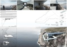 """(""""Beyond the Edge"""" is our proposal for an international architecture competition – a Site Landmark located in Sagres,. Architecture Visualization, Architecture Student, Amazing Architecture, Modern Architecture, Hot House, Layout, Facade Design, Green Building, Building Design"""
