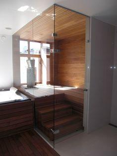 Sauna with a class wall Bathrooms, Bathtub, Wall, Home, Standing Bath, Bathtubs, Bathroom, Full Bath, Bath Tube