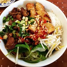 Vietnamese Grilled pork vermicelli noodles and egg roll