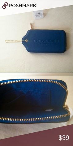New! Holiday Gifts Ideas Wristlet Wallet Coach Bag New with tags! This is the adorable wristlet wallet Coach blue bag that looks like a hangtag! Embossed with thick pebbled leather this bag is solid and durable. A perfect wristlet wallet for iPhone 6 plus money and credit cards and great for stocking stuffers! Gorgeous shiny gold metal hardware with rich peacock teal blue makes this bag chic and sophisticated. You can also wear it as a bag charm for a fun fashion statement or as a top layer…
