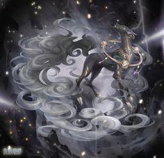 Gothic Fantasy Art, Fantasy Wolf, Fantasy Beasts, Anime Fantasy, Fantasy Artwork, Mystical Animals, Mythical Creatures Art, Magical Creatures, Tiamat Dragon