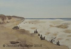 https://flic.kr/p/24p3uGJ | Waddenzee, winter op Texel / Wadden Sea, winter on Texel | Watercolour on Saunders Waterford NOT 300 g/m2. Colours used are Burnt Umber, Raw Sienna, Winsor Violet, Payne's Grey, French Ultramarine, Cerulean Blue (red shade), Antwerp Blue; all Winsor&Newton Professional.  My own reference.  Framed 40 x 50 cm; available.  Meer informatie vindt u op mijn website / More information can be found at my website www.jannekesatelier.webs.com