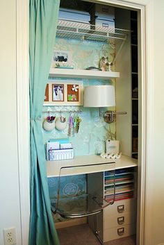 I like the idea of turning closet into office. I have the perfect place for this!!