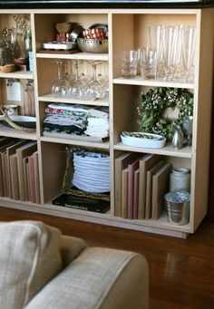 Something like this for kitchen?? Custom Plywood Bookcase   Remodelista
