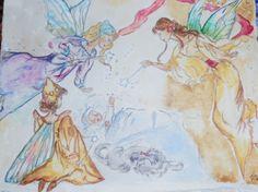 5x7 watercolor  'Fairies& Sleeping Beauty' lstilnovich