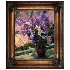 """Alcott Hill 'Lilacs in a Window 1880' by Mary Cassatt Framed Oil Painting Print on Canvas Size: 26.25"""" H x 22.25"""" W, Format: Antique Gold Frame"""