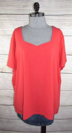 075db95b9d344 Denim  amp  Co Essentials womens Tunic 3X Stretch Knit Top 4X Coral  Cotton Spandex