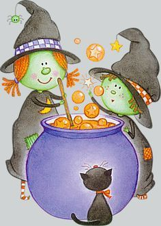 Witches at their cauldron Halloween Cartoons, Halloween Clipart, Halloween Prints, Halloween Pictures, Halloween Coloring, Cute Halloween, Halloween Cards, Holidays Halloween, Halloween Themes