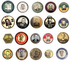 Typology of vintage employee photo ID badges. Mark Michaelson. via designobserver.