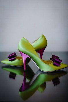 Purple + Green Catholic Wedding Ceremony Kate Spade Green and Purple Shoes Purple Wedding Shoes, Purple Shoes, Bridal Shoes, Purple Dress, Wedding Colors, Shades Of Purple, Green And Purple, Deep Purple, Purple Satin