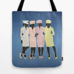 Besties Tote Bag by Aquamarine Studio $22.00 Best friends, sisterhood, Sunday, church ladies, models, women, ladies, high class, females, people, fashion, design, negro, fashion illustration, dress up, special occasion, elegant, clothing, apparel, garment, shoes, chic, pastels, retail, merchandising, mannequins, store, display, shopping, digital, paper, collage, texture, fabric, textile, fabric, contemporary, art, mixed media, paper dolls