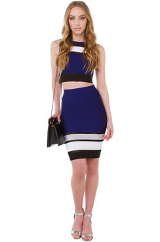 So Dedicated Navy Combo Mesh Midi Skirt