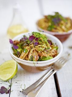 Jamie's sweet & sour chicken with spicy soy & plum sauce, crunchy greens & noodles