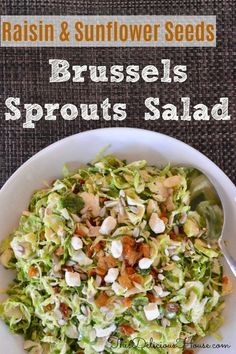 Brussels Sprouts Salad with Raisins, sunflower seeds, almonds and feta is a delicious make-ahead salad side dish that is an easy and healthy recipe for holidays and brunches. Made with shaved Brussels sprouts and a lemon dressing. Brussel Sprout Salad, Sprouts Salad, Brussels Sprouts, Make Ahead Salads, Easy Salads, Easy Meals, Taco Salad Recipes, Healthy Salad Recipes, Recipes With Cool Whip