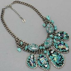 Chunky Western Necklace | Chunky Western Turquoise Stones Beads Statement Jeweled Necklace ...