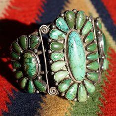 Early Turquoise Cluster Bracelet  found at www.rubylane.com @rubylanecom